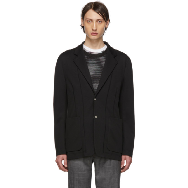 Maison Margiela Cotton Scuba Blazer Black In 900 Black