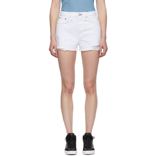 Rag & Bone Rag And Bone White Denim Maya High-rise Shorts In 100 Whttabb