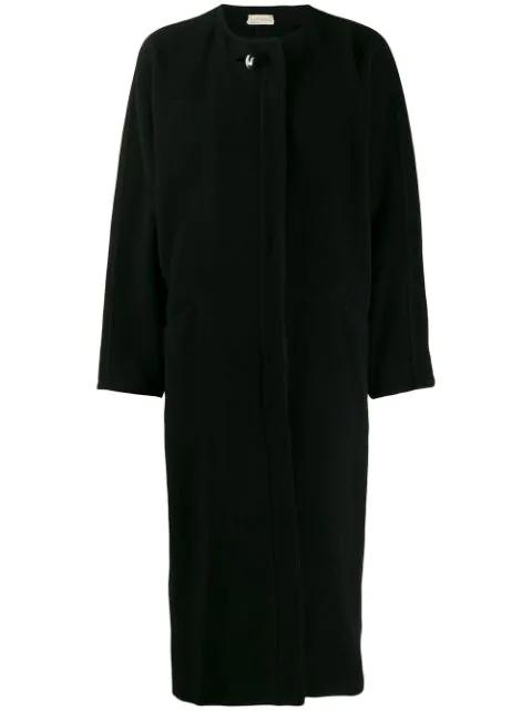 Pre-owned Versace 1980's Collarless Loose Coat In Black