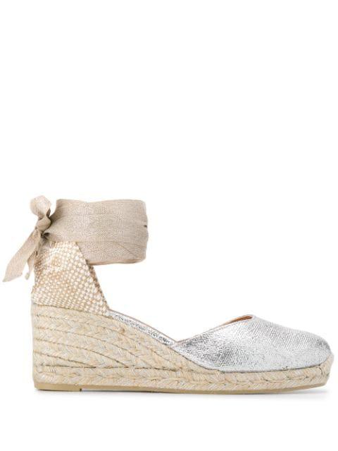 dd5ca3ceee5 Castañer Carina Wedge Espadrille Sandals - Silver