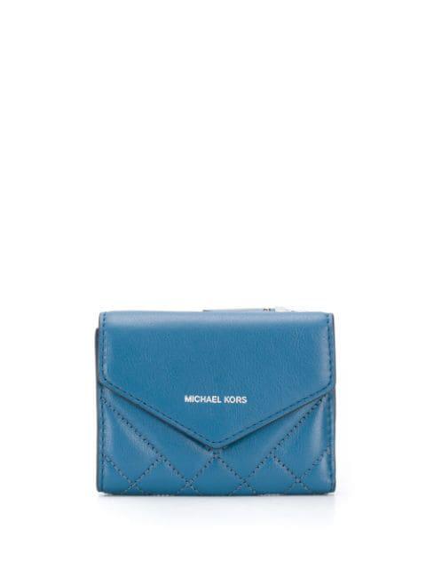 Michael Michael Kors Quilted Envelope Wallet In Blue