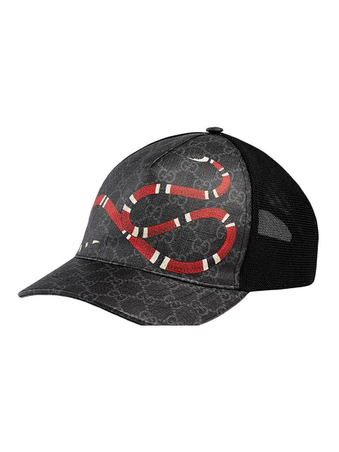 Gucci Snake-Print Coated Canvas & Mesh Trucker Hat In Black