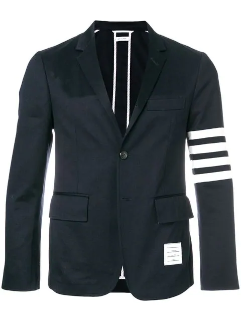 Thom Browne Midnight-Blue Slim-Fit Unstructured Striped Cotton-Twill Blazer In 415 Navy