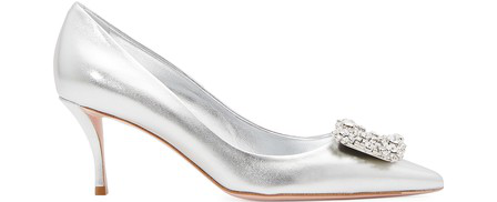 Roger Vivier Flower Strass Leather Pumps In Metallic