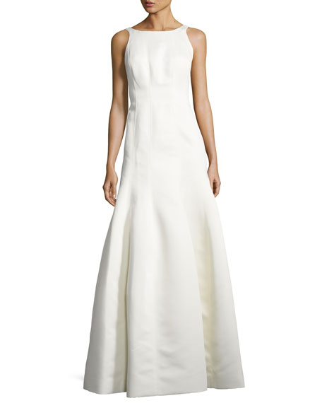 Halston Heritage Sleeveless Structured Ball Gown, Eggshell, Neutral Pattern