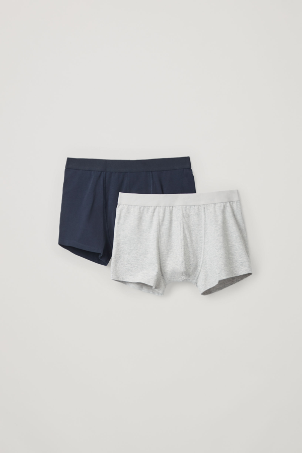 Cos 2-pack Organic-cotton Boxer Briefs In Blue