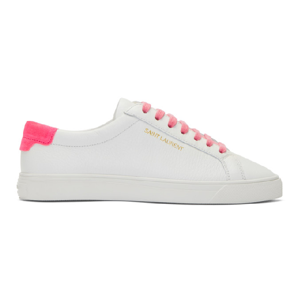 Saint Laurent Andy Sneakers In Grained Leather And Velvet In White