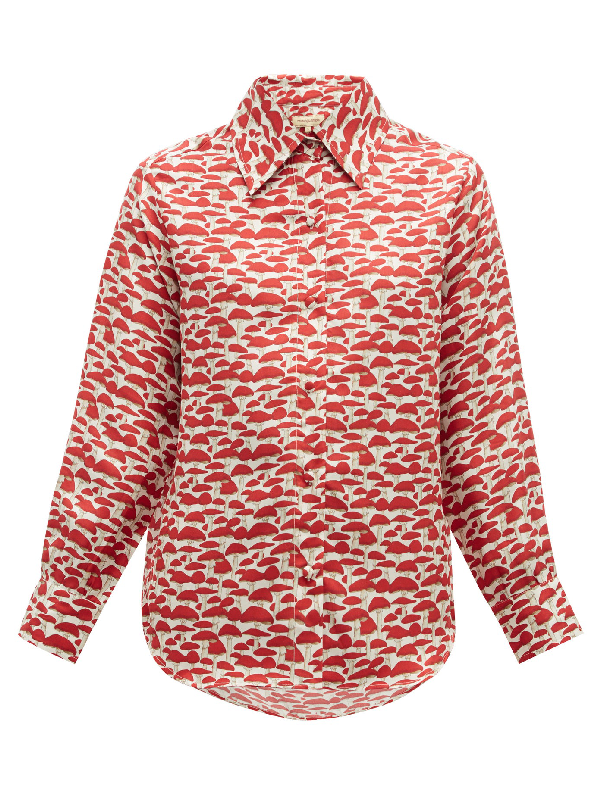 Muzungu Sisters Fern Mushroom-print Silk-faille Shirt In Red Multi