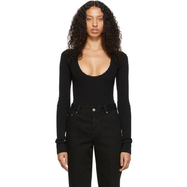 Bottega Veneta Stretch V-neck Long Sleeve Pullover In 1000 Black