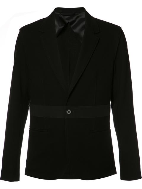 Lanvin Black Slim-Fit Wool-Trimmed Cotton-PiquÉ Blazer