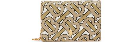 Burberry Jessie Monogram Logo-print Leather Chain Wallet In Beige