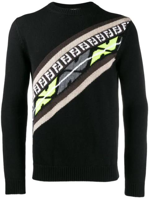 Fendi Logo-Print Cotton-Jersey Sweatshirt In Black