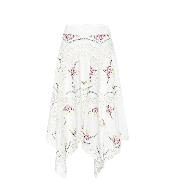 Zimmermann Allia Floral And Lace Insert Linen And Cotton-Blend Cotton Skirt In White