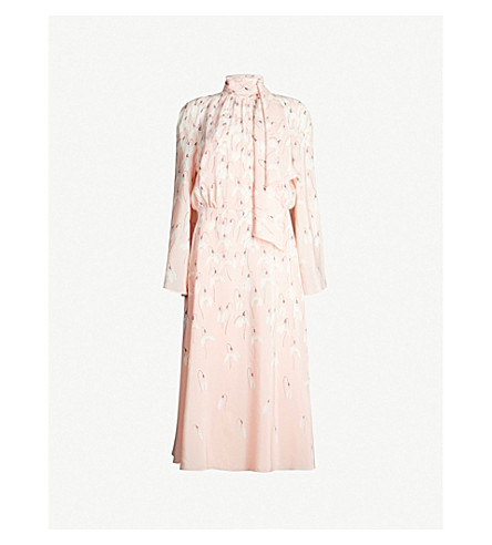 Valentino Tied-Neck Floral-Print Silk-Crepe Midi Dress In Rose Multi