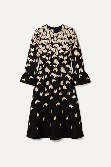 Valentino Flared-cuff Floral-print Wool And Silk-blend Midi Dress In Black