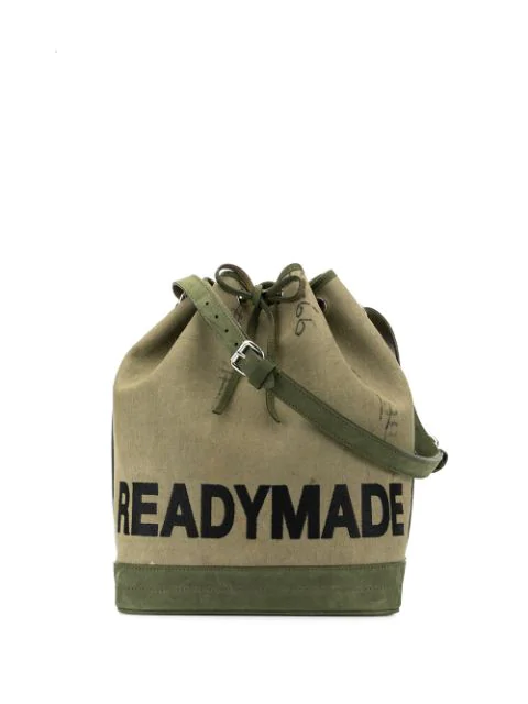 Readymade Drawstring Canvas Bag In Green
