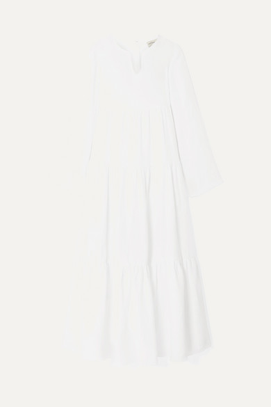 Mansur Gavriel Bohemian Long Sleeve Linen Maxi Dress In White