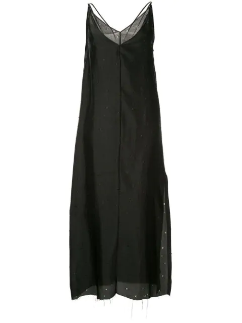 Yang Li Plunge Slip Dress In Black