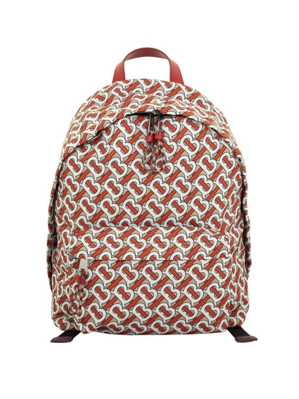 Burberry Jett Tb Monogram Print Nylon Backpack In Orange