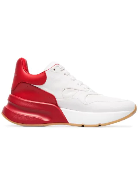 Alexander Mcqueen Runner Raised-sole Low-top Leather Trainers In White ,red