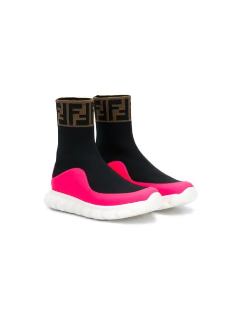 Fendi Kids' Logo Jacquard Knit Sock Sneakers In Black