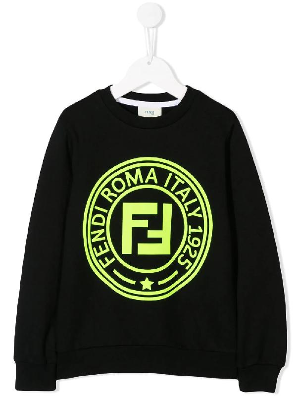 Fendi Kids' Logo Printed Cotton Sweatshirt In Black