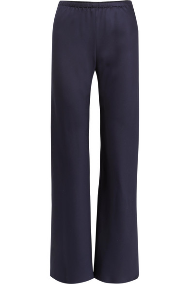 The Row Gala Silk-Satin Wide-Leg Pants In Navy