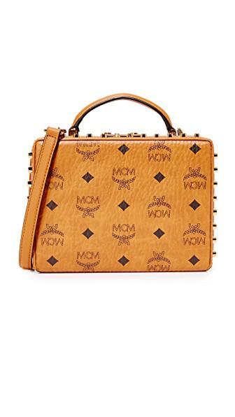 Mcm Berlin Visetos Small Crossbody Bag In Cognac