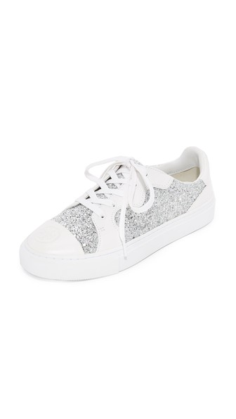 Tory Burch Milo Glitter And Leather Sneakers In Silver/white