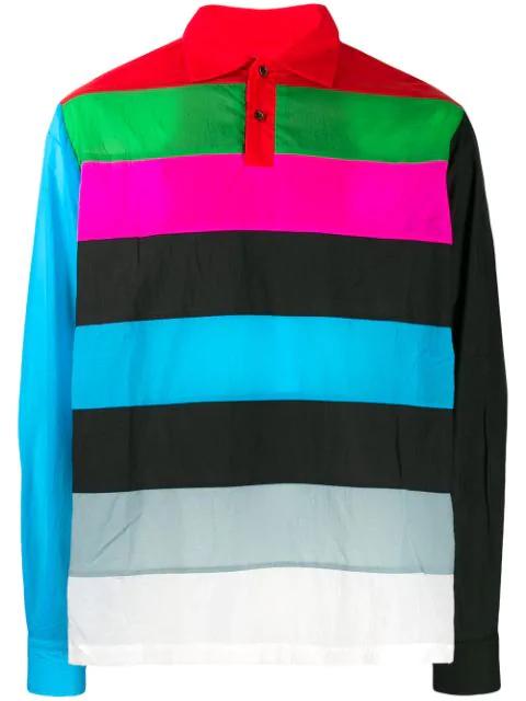 Xander Zhou Stripe Panel Polo Shirt In Blue
