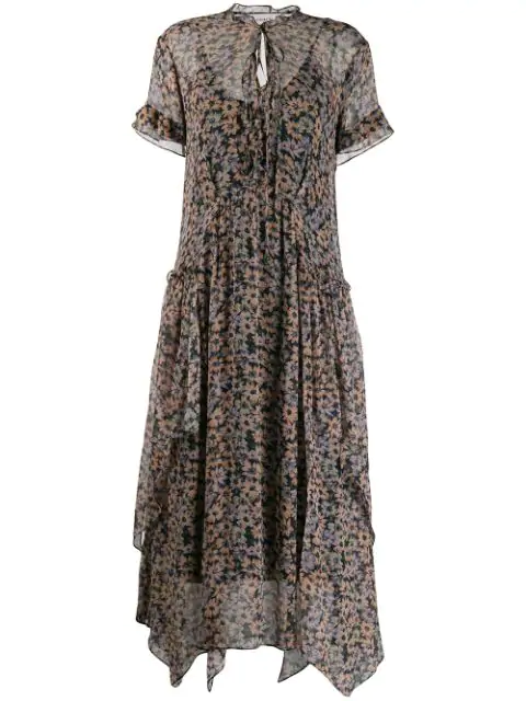 Coach Long Bib Floral-Print Handkerchief Dress In Ovm Navy/Khaki