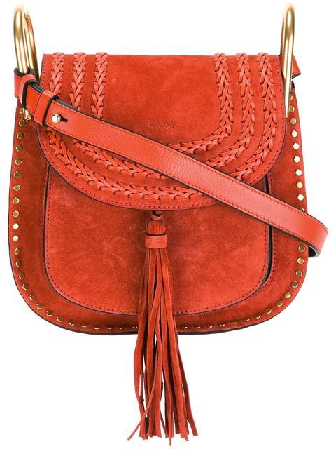 ChloÉ Hudson Mini Whipstitched Suede Shoulder Bag In Red
