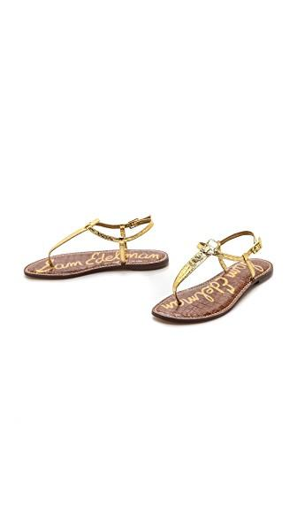 a5c2ce39ffb3f Sam Edelman Gigi T Strap Flat Sandals In Gold