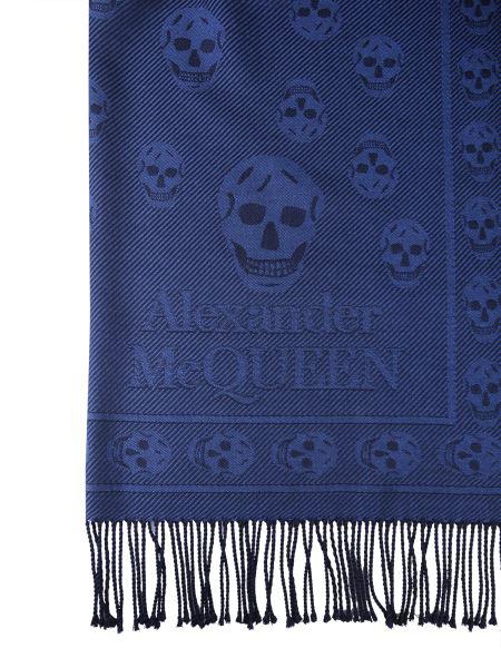 Alexander Mcqueen Skull Scarf In Blue