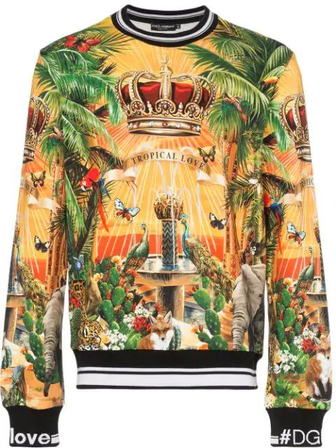Dolce & Gabbana Cotton Sweatshirt With Tropical King Print In Yellow