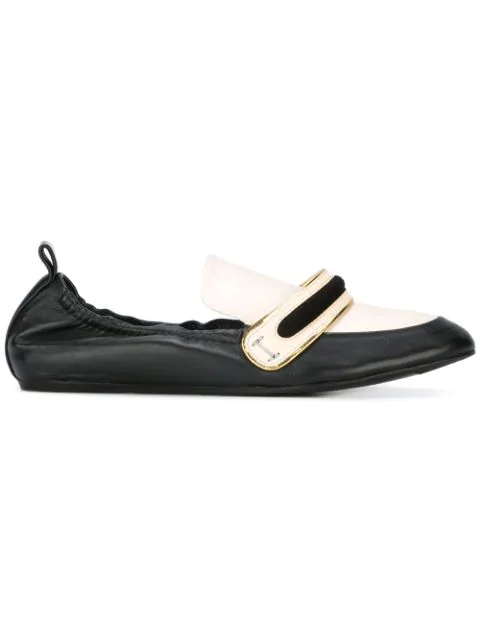 Lanvin Banded Leather Moccasin Loafers In Black