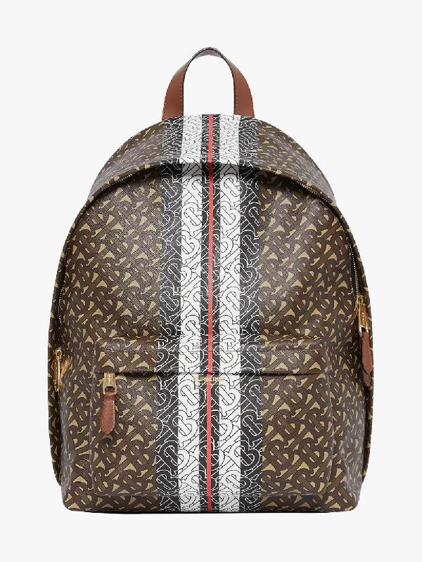 Burberry Monogram Stripe Print E-Canvas Backpack In Braun