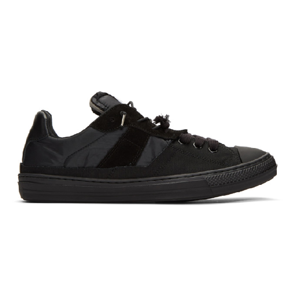 Maison Margiela Black Mix Fabric Sneakers In T8016 Blkmx