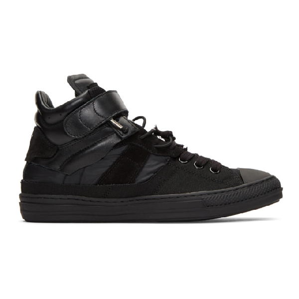 Maison Margiela Black Mix Fabric High-Top Sneakers In T8016 Bkmx