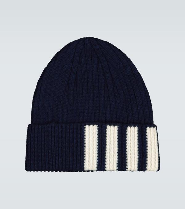 Thom Browne 4-bar Stripe Cashmere Rib Hat In Blue