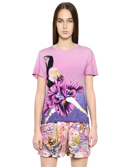 Mary Katrantzou Printed Stretch Cotton T-Shirt In Purple