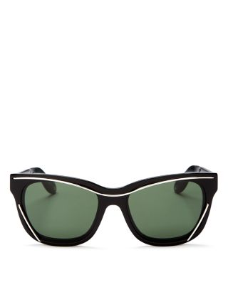 Givenchy Wire Square Sunglasses, 55mm In Black/silver/green Solid