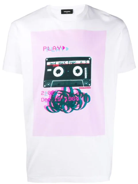 Dsquared2 Tape Print T-shirt In White