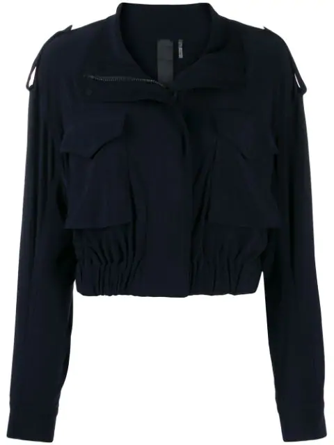 Norma Kamali Hooded Cotton-blend Jersey Bomber Jacket In Blue
