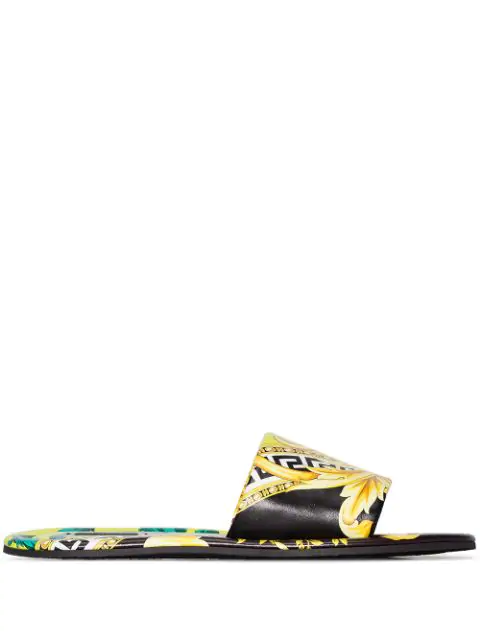 Versace Graphic Leather Slide Sandals In Multicolour