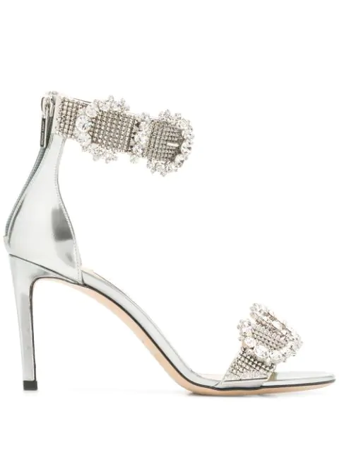 Jimmy Choo Lais 85 Sandals In Silver
