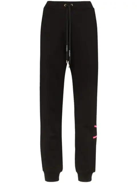 Versace Logo Print Track Pants - Black