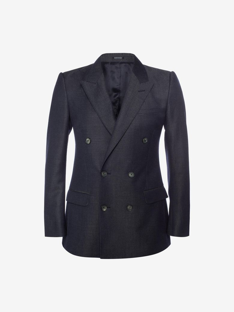 Alexander Mcqueen Chambray Double Breasted Jacket In Navy