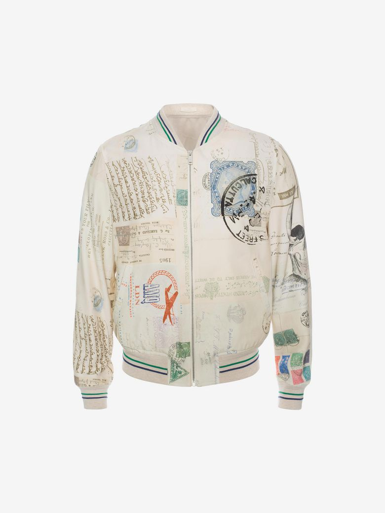 Alexander Mcqueen Regular-fit Graphic-jacquard Bomber Jacket In White