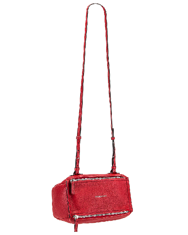 Givenchy 'Mini Pandora' Sugar Leather Shoulder Bag - Red In Vermillion
